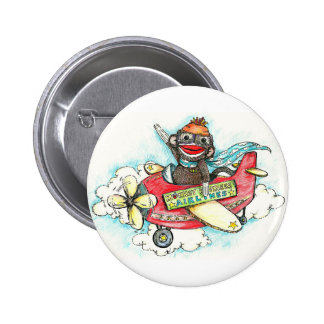 Sock Monkey Business Airlines Button