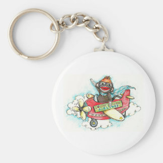Sock Monkey Business Airlines Keychain