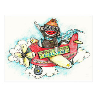 Sock Monkey Business Airlines Postcards