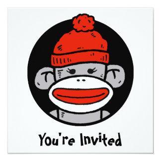 "Sock Monkey Card / Invitation 5.25"" Square Invitation Card"