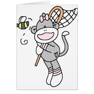 Sock Monkey Catching Bugs Card