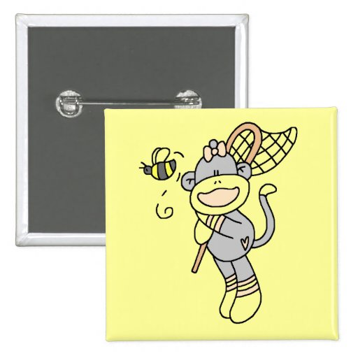 Sock Monkey Catching Bugs Tshirts and Gifts Pins