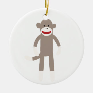 Sock Monkey Ceramic Ornament