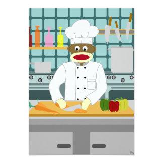 Sock Monkey Chef 5x7 Paper Invitation Card