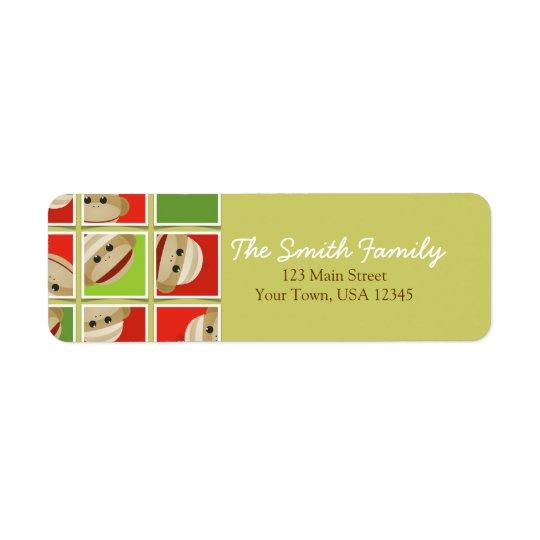 Sock Monkey Christmas Blocks Return Address Label
