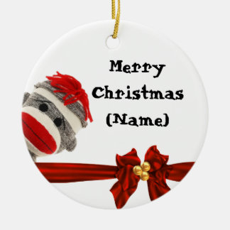 SOCK MONKEY CHRISTMAS  ORNAMENT PERSONALIZED