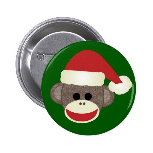 Sock Monkey Christmas pin