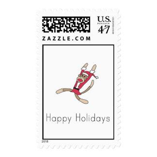 sock monkey christmas postage
