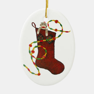 Sock Monkey Christmas Stocking Ornament