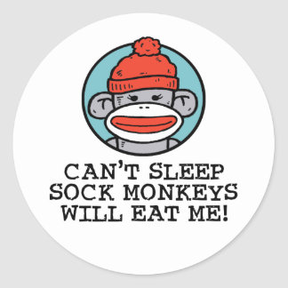 Sock Monkey Classic Round Sticker