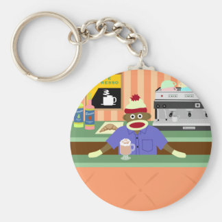 Sock Monkey Coffee Shop Barista Keychain