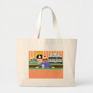 Sock Monkey Coffee Shop Barista Large Tote Bag