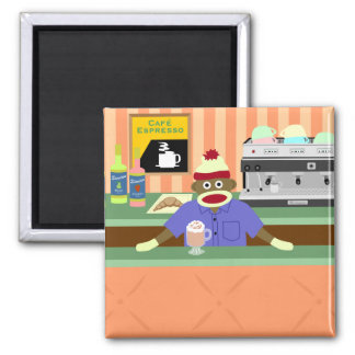 Sock Monkey Coffee Shop Barista 2 Inch Square Magnet