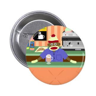 Sock Monkey Coffee Shop Barista Pinback Button
