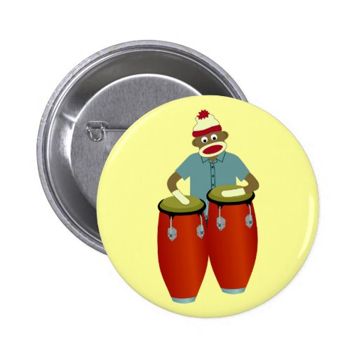 Sock Monkey Conga Drums Button