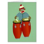 Sock Monkey Conga Drums Card