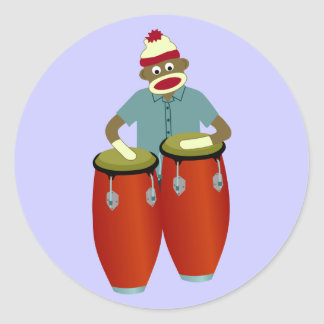 Sock Monkey Conga Drums Classic Round Sticker