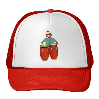 Sock Monkey Conga Drums Mesh Hats