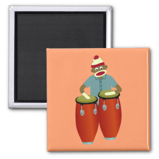 Sock Monkey Conga Drums Magnets