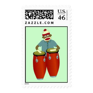 Sock Monkey Conga Drums Postage