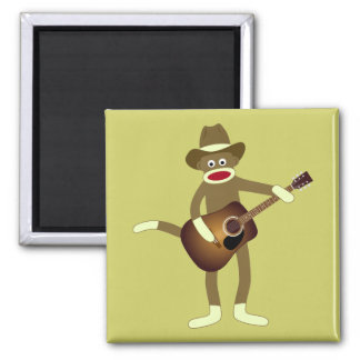 Sock Monkey Country Music 2 Inch Square Magnet