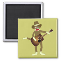 Sock Monkey Country Music Magnet
