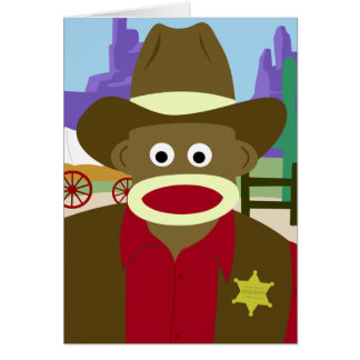 Sock Monkey Cowboy Greeting Card