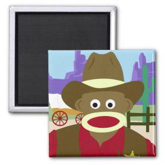 Sock Monkey Cowboy Magnets