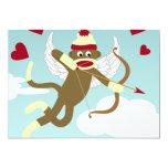 "Sock Monkey Cupid 5"" X 7"" Invitation Card"