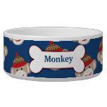 Sock Monkey Custom Pet Dog Food Bowl - Blue