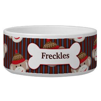 Sock Monkey Custom Pet Dog Food Bowl - Striped
