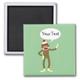 Sock Monkey Customizable Comic Speech Bubble 2 Inch Square Magnet