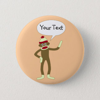 Sock Monkey Customizable Comic Speech Bubble Button