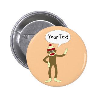 Sock Monkey Customizable Comic Speech Bubble Button