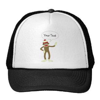 Sock Monkey Customizable Comic Speech Bubble Trucker Hat
