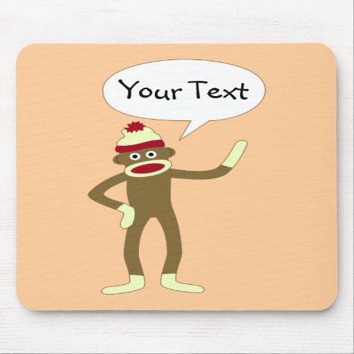 Sock Monkey Customizable Comic Speech Bubble Mouse Pad