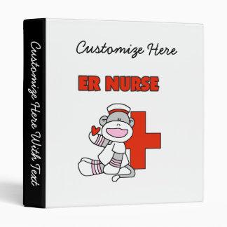 Sock Monkey ER Nurse T-shirts and Gifts 3 Ring Binder