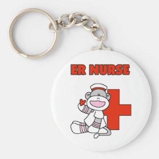 Sock Monkey ER Nurse T-shirts and Gifts Basic Round Button Keychain