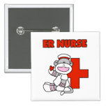 Sock Monkey ER Nurse T-shirts and Gifts 2 Inch Square Button