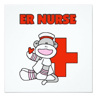 Sock Monkey ER Nurse T-shirts and Gifts 5.25x5.25 Square Paper Invitation Card