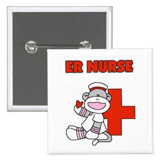 Sock Monkey ER Nurse T-shirts and Gifts Pinback Button