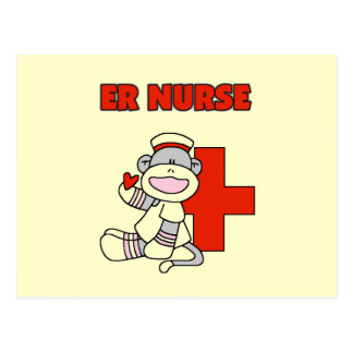 Sock Monkey ER Nurse T-shirts and Gifts Postcard