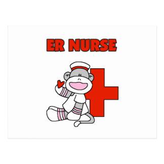 Sock Monkey ER Nurse T-shirts and Gifts Postcard