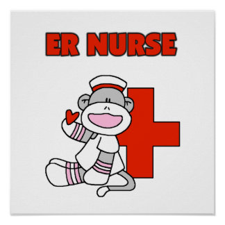 Sock Monkey ER Nurse T-shirts and Gifts Poster