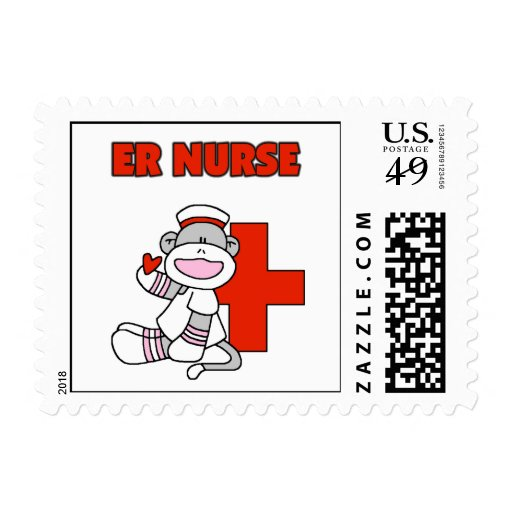 Sock Monkey ER Nurse T-shirts and Gifts Stamp