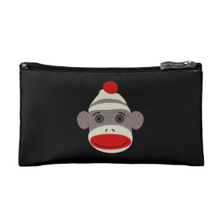 Sock Monkey Face Cosmetic Bag