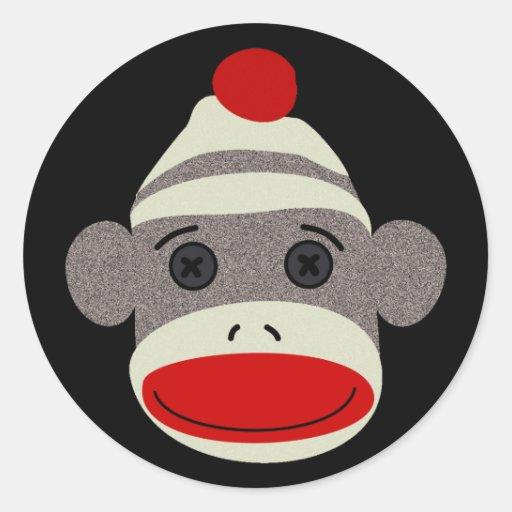 Sock Monkey Face Classic Round Sticker