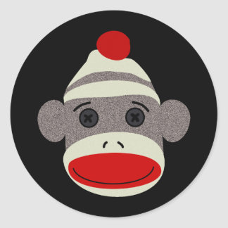 Sock Monkey Face Classic Round Sticker