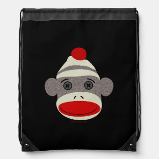 Sock Monkey Face Drawstring Backpack
