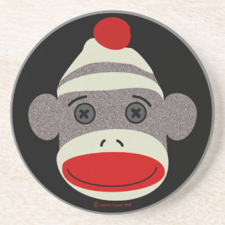 Sock Monkey Face Drink Coaster